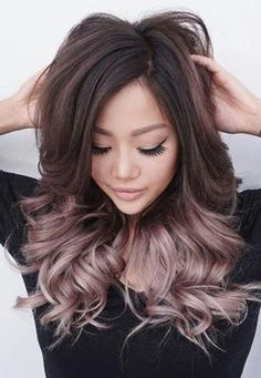 Image result for rose gold highlights on dark hair