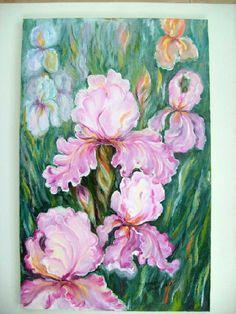 painting oil on canvas Iris, Oil On Canvas, Fine Art, Animals, Painting, Animales, Animaux, Irises, Painted Canvas
