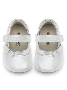 See Kai Run baby girls Victoria Silver Mary Jane shoes in sizes 6M-24M