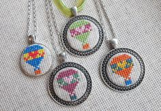 Hot air balloon necklace Cross stitch pendant Heart jewelry Multicolor embroidered jewelry Hot air j Mini Cross Stitch, Fabric Gifts, Heart Jewelry, Unique Jewelry, Travel Jewelry, Fabric Jewelry, Birthday Gifts For Her, Hot Air Balloon, Colored Diamonds