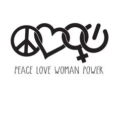 """""""Peace Love Woman Power symbol in black with words"""" by jitterfly – girl power tattoo Love Symbol Tattoos, Peace Tattoos, Small Quote Tattoos, Symbolic Tattoos, Cute Tattoos, New Tattoos, Tattoo Girls, Girl Tattoos, Gangsta Tattoos"""