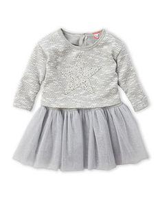 MINI MINI BY LITTLE MASS (Newborn/Infant Girls) Grey 2Fer Star Pullover & Tulle Dress