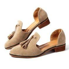 89e2f2e462a Suede Tassel Low Heel Slip On Sandals