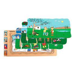 Deze topkwaliteit houten puzzel laat kinderen op een speelse wijze typerende kenmerken van de vier jaargetijden zien. Inhoud: 32 puzzelstukken.
