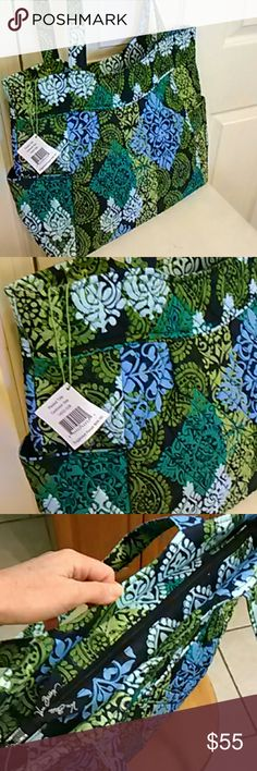Vera Bradley pleated tote large!  New color!! Brand new with tags and in a new color just arrived in stores.  Be the first to have one!  The color is Caribbean Sea, in blues and greens.  The bags has pleated detailing, zips closed, has two large end pockets, and inside one zip pocket and three slips.  Nice size and gorgeous styling. Vera Bradley Bags Totes