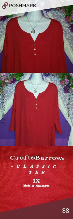 """RED RED RED LONG SLEEVE CROFT Worn once for a Christmas Lunch.  18"""" from pit to hem CROFT&BARROW Tops Tunics"""