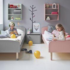 Grey and Rose Flexa Children's Bed