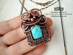 Turquoise necklace Copper necklace Copper pendant Antique