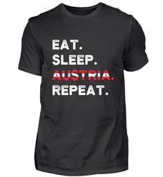 Eat Sleep Austria Repeat Wien Ski Urlaub T-Shirt Eat Sleep, Austria, Repeat, Skiing, Mens Tops, Cotton, Ski
