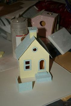 How to:  Mini houses for the Christmas tree or fireplace mantle.