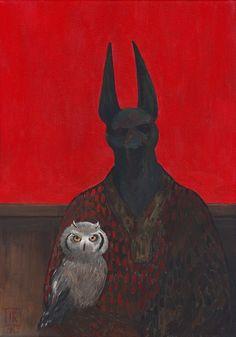 Joanna Karpowicz - Anubis With A Weird Bike (acrylic on canvas, Art And Illustration, Illustrations, The Ancient Magus, Ancient Art, Arte Obscura, Art Series, Classical Art, Sculpture, Dark Art
