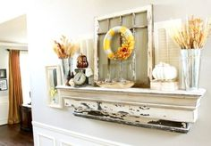 40 Delightful DIY Fall Mantel Decoration Ideas I'll have a mantle some day! Reclaimed Wood Mantel, Wood Mantels, Mantles, Distressed Mantle, Mantels Decor, Fall Mantels, Rustic Mantle, Antique Mantel, Antique Wood