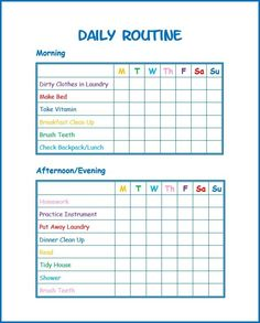 This Daily Routine Printable For Kids Will Help Kids Stay On Task And  Develop Good Habits