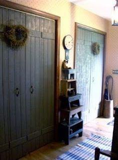 Make bi fold doors look like rustic barn doors. Cheap, easy DIY instructions. LOVE this.