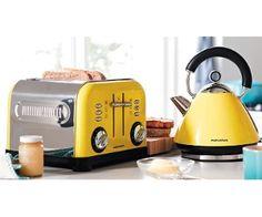 Morphy Richards czajnik i toster w kolorze żółtym to świetny dodatek do każdej kuchni.