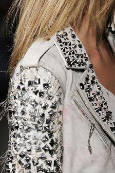 White studded leather jacket.