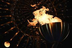 The Olympic Cauldron is lit at the Olympic Boulevard for the 2016 Rio Summer Olympic Games in Rio de Janeiro, Brazil, on August 5, 2016.