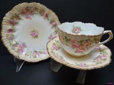 C1900 M Z Austria Divine Peach Blush Floral Roses Trio