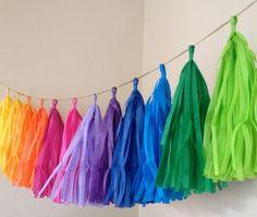 RAINBOW FUN / tissue paper tassel garland / rainbow by PomLove
