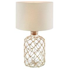 Bouclair Coastal Charm Rope Table Lamp Clear 33 x 59 cm Glass Table Lamp, Decor, Table, Glass Table, Modern Table Lamp, Table Lamp, Lamps Living Room, Tiffany Table Lamps, Rope Table Lamps