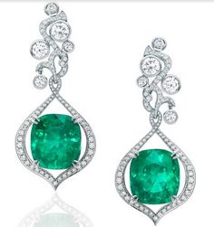 Boodles Greenfire collection Colombian emerald & diamond earrings.
