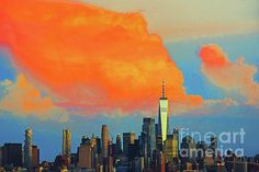 Manhattan Skyline, Lower Manhattan, New York Skyline, Blue Artwork, One World Trade Center, Any Images, Artist At Work, First World, Wall Art Decor
