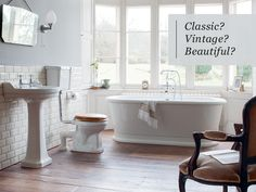 Metro tiles used to compliment this Edwardian bathroom suite. Bathroom Suite, Traditional Bathroom, Simple Bathroom Designs, Bathroom Renovation Cost, Edwardian Bathroom, Bathroom Cost, Room Remodeling, Diy Bathroom Remodel, Luxury Bathroom