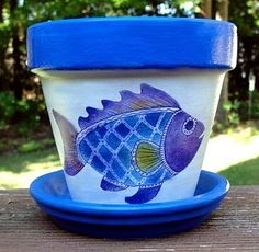 Purple And Blue Fish Flower Pot By EllensClayCreations On Etsy, $12.00