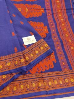Blue Color Hand Woven Cotton Saree With Thread motif All Over