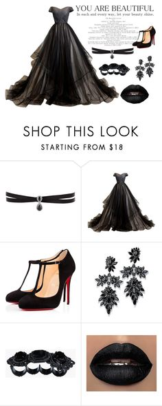 Black by barboratosilova on Polyvore featuring Christian Louboutin, Fallon and Dsquared2