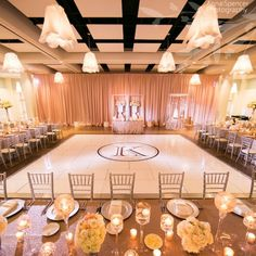 A wedding reception featuring rose gold and blush at the Atlanta Botanical Garden.