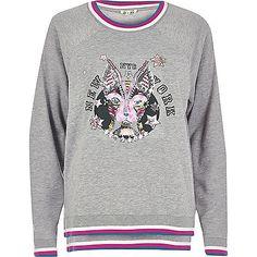 회색 치장 프린트 셔츠 - 후드 / 스웨터 - t 셔츠 / 조끼 - 탑 - 여성