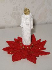 Poinsettia Candleholder and Candle pattern by Sally V.- Ravelry: Poinsettia Candleholder and Candle pattern by Sally V. Knitted Christmas Decorations, Crochet Christmas Ornaments, Christmas Crochet Patterns, Holiday Crochet, Christmas Knitting, Christmas Candle, Christmas Projects, Holiday Crafts, Crochet Decoration