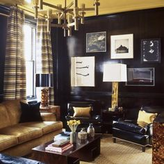 laquered mustard yellow gold ceiling and dark navy blue walls, design by Stephen Gambrel