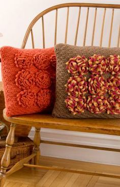 Dahlia Pillows Free Crochet Pattern from Red Heart Yarns