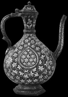 Bidri Ewer, India - Michael Backman Ltd Temple Design For Home, Indian Art, Indian Ethnic, Mughal Empire, Spray Can, Tribal Art, Floral Motif, Islamic Art, Metal Working
