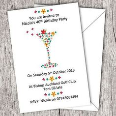 #Birthday #party invitations 18th/21st/30th/40th/50th/60th any age adult #cocktai, View more on the LINK: http://www.zeppy.io/product/gb/2/320963092906/