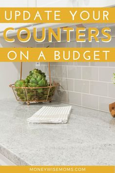 Use these home improvement tips to stay on a budget. Learn how to update your countertops for less! Change up your kitchen counters or bathroom vanity tops without overspending. #kitchencounters #budgethomeimprovement #savemoney #moneywisemoms Painting Kitchen Counters, Countertop Paint Kit, Painting Countertops, New Countertops, Butcher Block Countertops, White Kitchen Cabinets, Kitchen Paint, Kitchen Design, Diy Projects To Improve Your Home