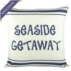 "Handmade linen-blend pillow with seaside print detail.    Product: PillowConstruction Material: Linen-blendColor: Beige and blueFeatures:  Handmade by TheWatsonShopZipper enclosure Insert includedMade in the USA Dimensions: 16"" x 16""Cleaning and Care: Spot clean only"