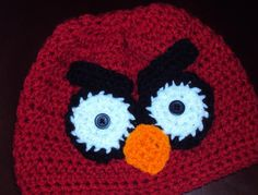 Crochet Beanie Hat Red Bird. Angry Birds