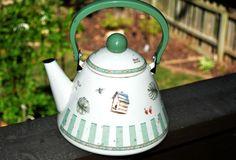 Esmalte tetera, tetera, blanco, herramientas de jardín, esmalte tetera, tetera, tetera Vintage