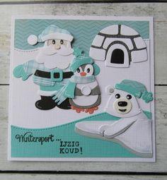 T T aqua Santa penguin igloo Xmas Cards To Make, Christmas Cards 2018, Homemade Christmas Cards, Merry Christmas Card, Holiday Cards, 3d Cards, Your Cards, Father Xmas, Marianne Design Cards