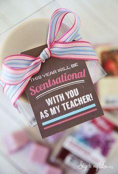 Scentsational back to school teacher gift! Free printable! www.skiptomylou.org #backtoschool #freeprintable