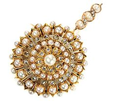 Spectacular Antique Diamond Pearl Pendant Brooch - The Three Graces