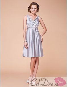 Wonderful A-line V-neck Knee-length Elastic Satin Mother of the Bride Dress - Mothers & Special Guests - Wedding Party Dresses - CDdress.com