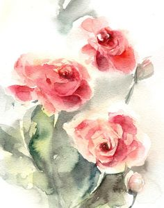 Roses Watercolor Print Watercolor Painting Art by CanotStopPrints