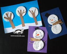 5 great ideas for winter decorations from eye make-up remover pads Winterdekorationen aus Augen Make-up Entferner Pads Winter Art Projects, Winter Crafts For Kids, Winter Kids, Art For Kids, Diy Christmas Cards, Christmas Art, Winter Christmas, Snowman Crafts, Christmas Crafts