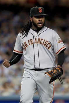 . Johnny Cueto #47 of the the San Francisco Giants reacts to an out during the fifth inning of a game against the Los Angeles Dodgers at Dodger Stadium on April 16, 2016 in Los Angeles, California. (Photo by Sean M. Haffey/Getty Images)