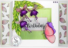Jayne Rhodes Using Spectrum Noir Illustrator Pens: AG3, PP6, PP5, PP4, PP2, PP1, HB1, PL3, LG4, LG3, LG2, LG1, CT1. Sheena Douglass Country Cottage Fanciful Fuschia stamp, Flights of Fancy stamp.Textures Woodgrain Embossing Folder. #crafterscompanion #spectrumnoir #illustrator #adultcoloiring #cardmaking #stamping #crafting #handmade