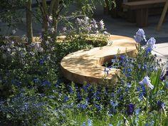 Curving wooden garden bench